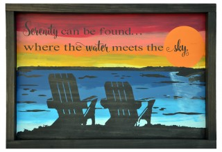 """Serenity Can Be Found"" - Lake Sunset Wood Sign"