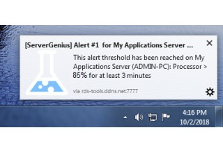 Server Genius browser pop-ups alerts