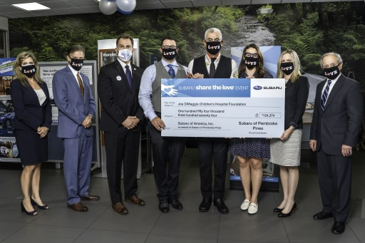 Craig Zinn Presents $154,373 Donation to  Joe DiMaggio Children's Hospital Foundation as Part of the Annual  Subaru of Pembroke Pines 'Share the Love' Event
