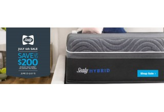 Save up to $200 on Sealy Hybrid with Mattress Kings this July 4th.