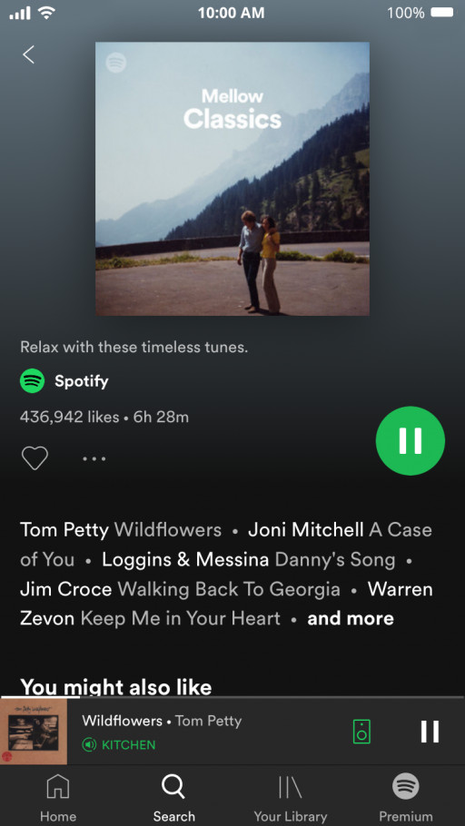 Spotify (Free version) Mellow Classics Now Playing Screenshot
