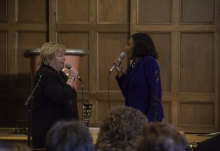 Lifting their voices in song at the multi-faith service in honor of Martin Luther King Day 2018