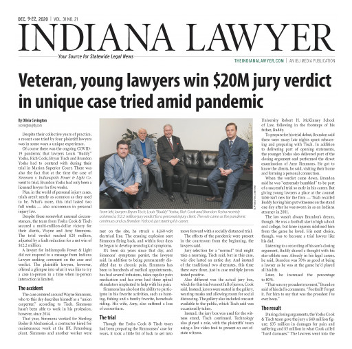 Lawyer Admitted for Five Weeks Helped Indianapolis Firm Obtain $20M Jury Verdict