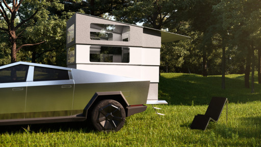 CyberLandr, the Disappearing Camper for Tesla Cybertruck