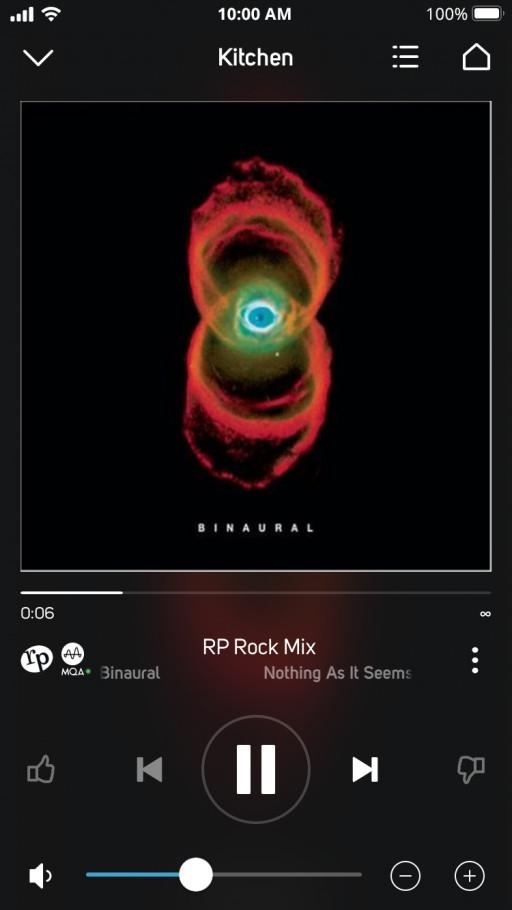 Screenshot of Radio Paradise's RP Rock Mix in MQA