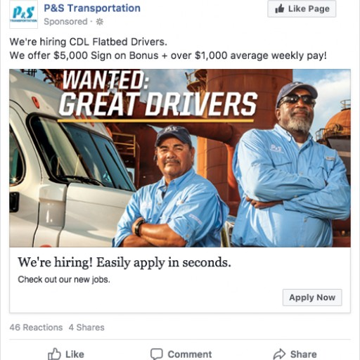 Work4 Helps P&S Transportation Improve Its Driver Recruitment by Optimizing Jobs Reach and Application Costs