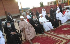 President Omar Bashir seated with Christian leaders in Sudan