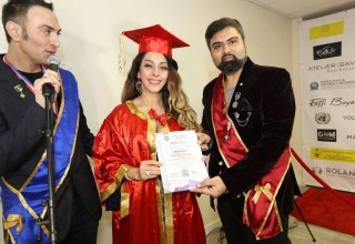 Dr. Elham Madani being awarded by Dr. Roland Yakoubov and Dr. Singh