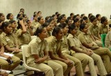Trainees at a The Way to Happiness workshop at the police training school in Dwarka, India
