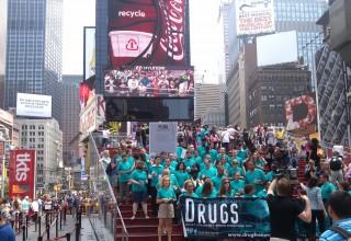 Drug-Free World volunteers raising awareness of the danger of drugs at Times Square