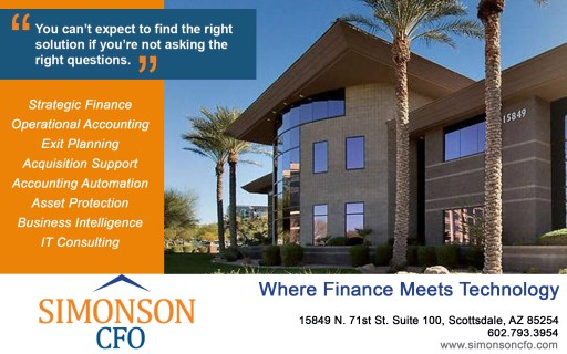 Simonson CFO Announces Hiring of New Associate and New Scottsdale Corporate Office