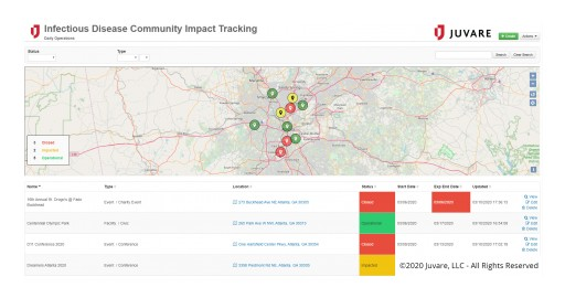 Juvare Releases Infectious Disease Community Impact Add-on for WebEOC to Help Emergency Managers Track COVID-19 Pandemic