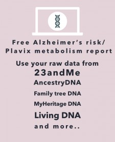Xcode Life' free Alzheimer's risk and Plavix metabolism report